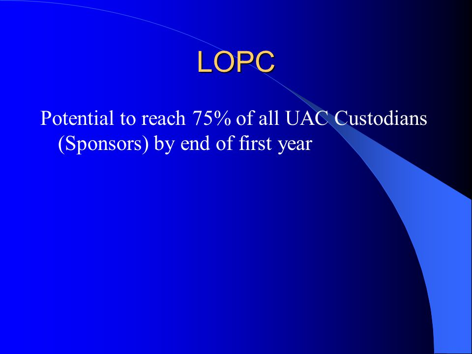 LOPC Potential to reach 75% of all UAC Custodians (Sponsors) by end of first year