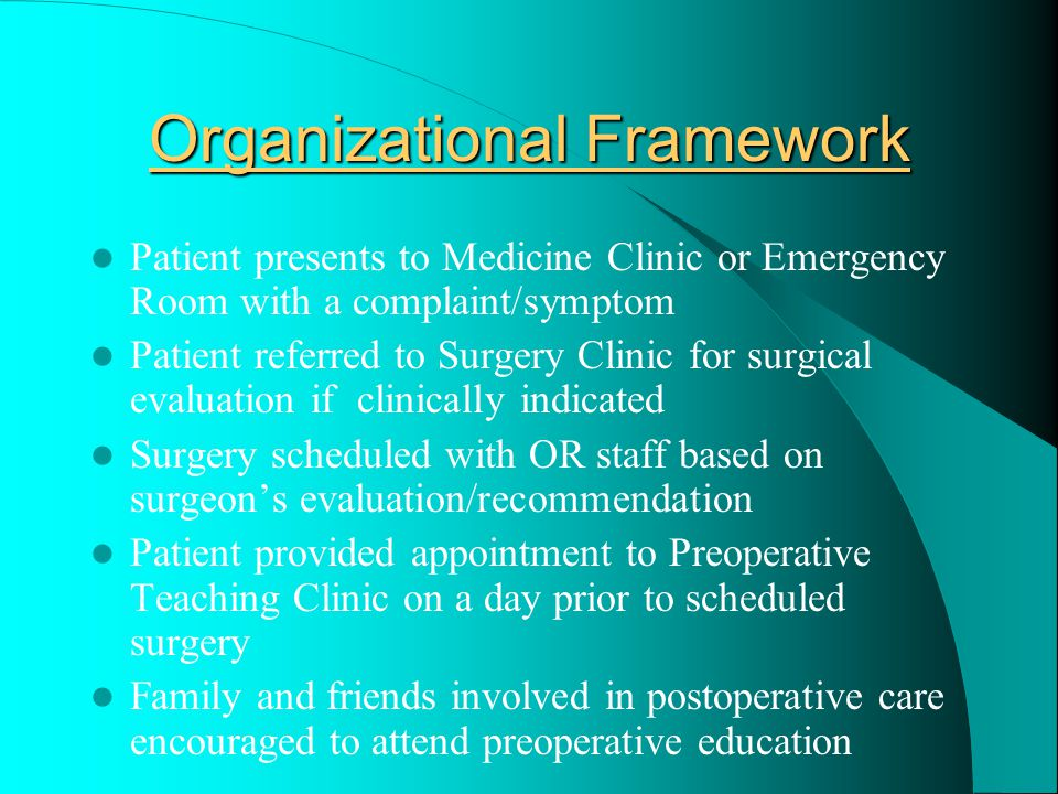 THEORY-PRACTICE GAP A Theory-Practice gap identified Preoperative education benefits along with cost effectiveness to institutions and patients are well documented through years of research Many facilities have no formal policy or program for providing structured education Thus, many patients arrive the morning of surgery very anxious and poorly informed