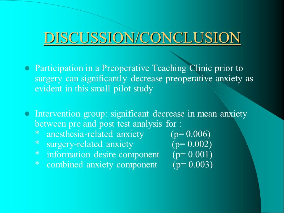 HYPOTHESIS IV There will be no difference in anxiety between the two groups prior to preoperative teaching Independent sample t-test results (p-value) * anesthesia-related anxiety - 0.014 (.05) T-test at pre-measure significantly higher in one out of three measures Pre-test means higher in all components in the intervention group than in the control group Hypothesis IV is not supported