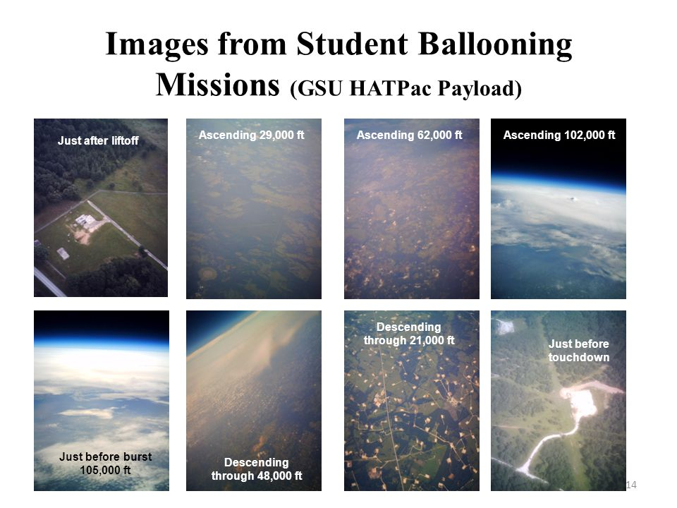 Images from Student Ballooning Missions (GSU HATPac Payload) 14 _ Just after liftoff Ascending 29,000 ftAscending 62,000 ftAscending 102,000 ft Just before burst 105,000 ft Descending through 48,000 ft Descending through 21,000 ft Just before touchdown