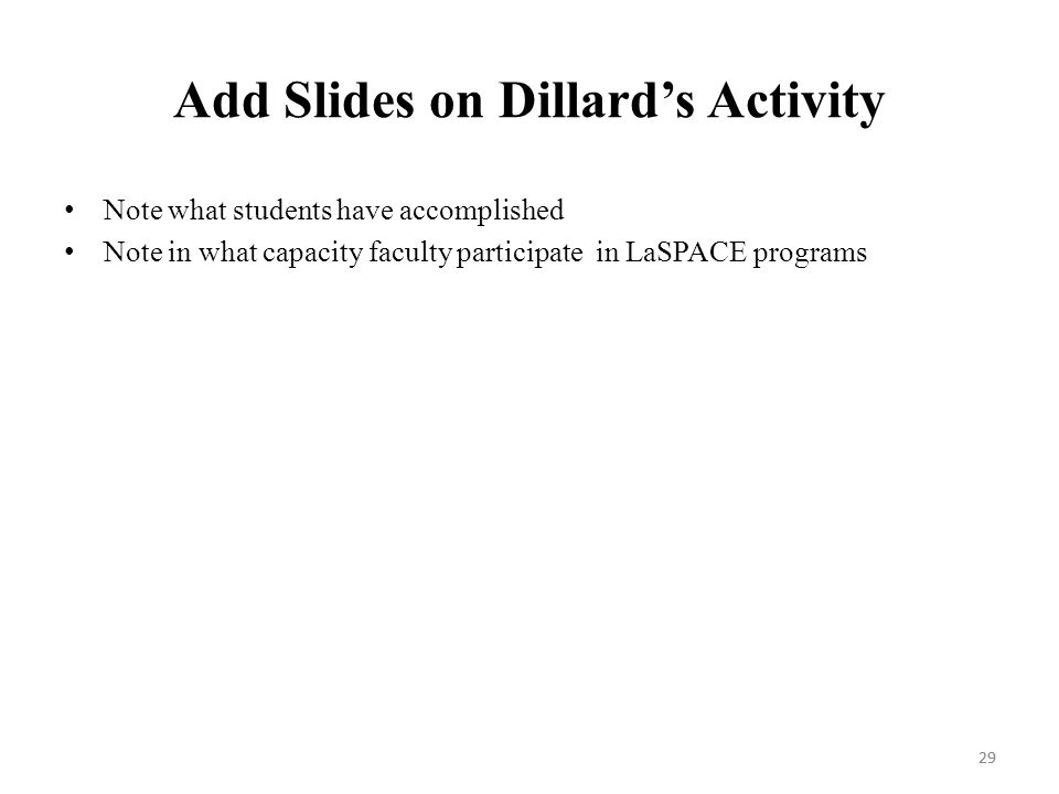 29 Add Slides on Dillard's Activity Note what students have accomplished Note in what capacity faculty participate in LaSPACE programs 29