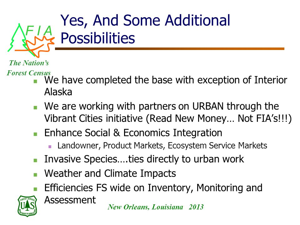 F I A New Orleans, Louisiana 2013 The Nation's Forest Census Yes, And Some Additional Possibilities We have completed the base with exception of Interior Alaska We are working with partners on URBAN through the Vibrant Cities initiative (Read New Money… Not FIA's!!!) Enhance Social & Economics Integration Landowner, Product Markets, Ecosystem Service Markets Invasive Species….ties directly to urban work Weather and Climate Impacts Efficiencies FS wide on Inventory, Monitoring and Assessment
