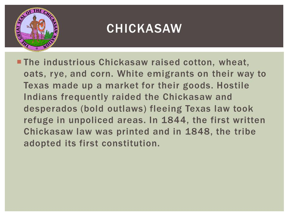  The industrious Chickasaw raised cotton, wheat, oats, rye, and corn.