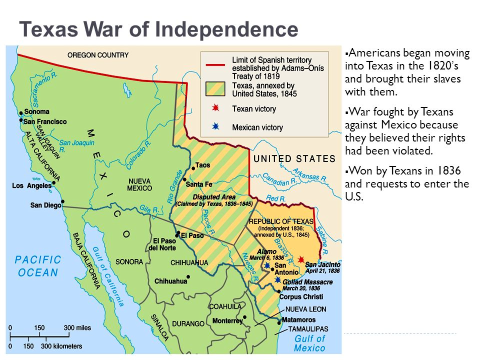 Texas War of Independence  Americans began moving into Texas in the 1820's and brought their slaves with them.  War fought by Texans against Mexico
