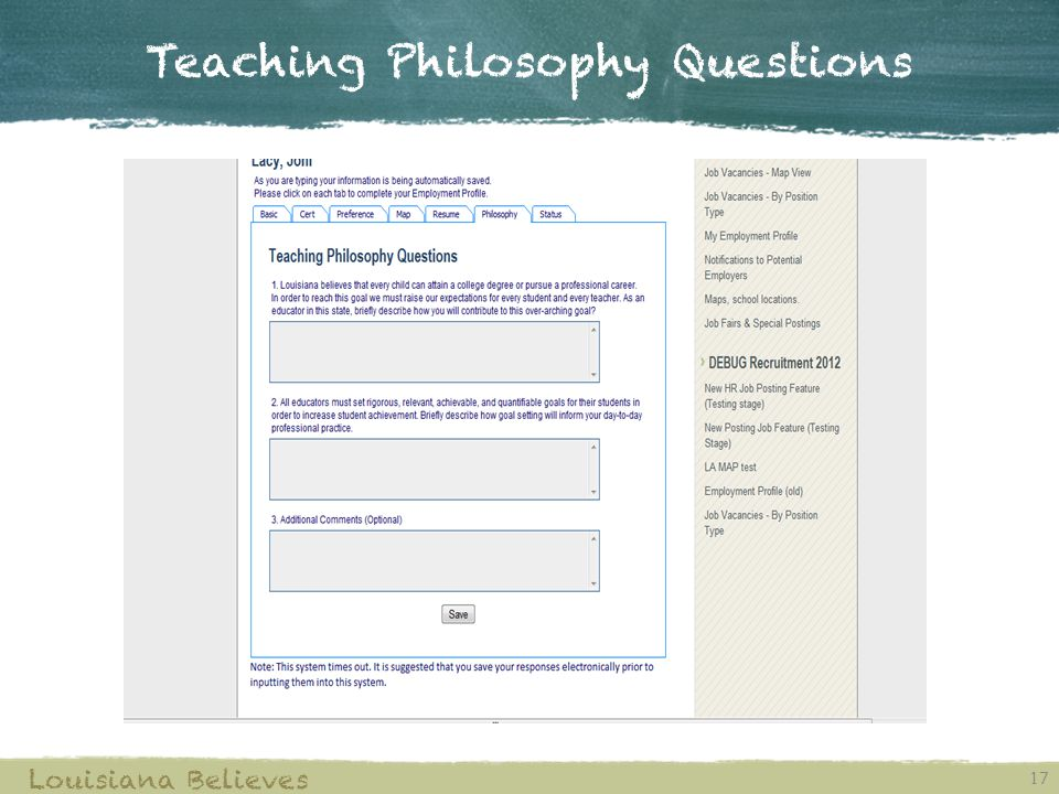 Teaching Philosophy Questions 17 Louisiana Believes