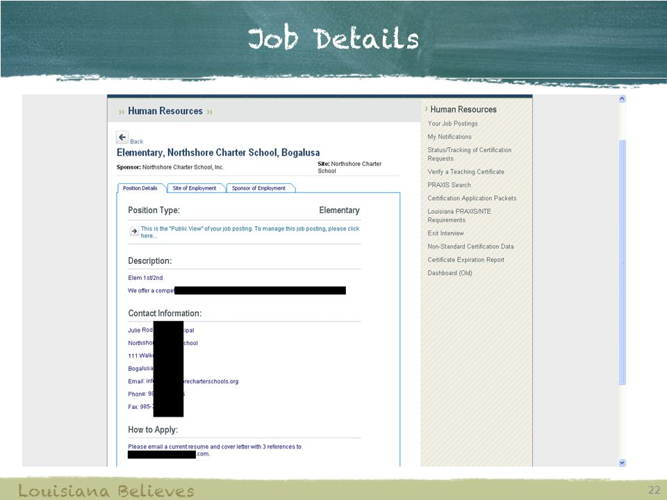 Job Details 22 Louisiana Believes