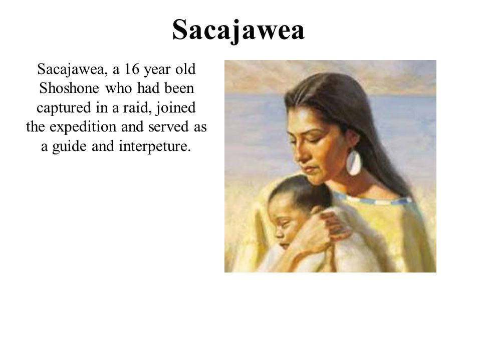 Sacajawea Sacajawea, a 16 year old Shoshone who had been captured in a raid, joined the expedition and served as a guide and interpeture.