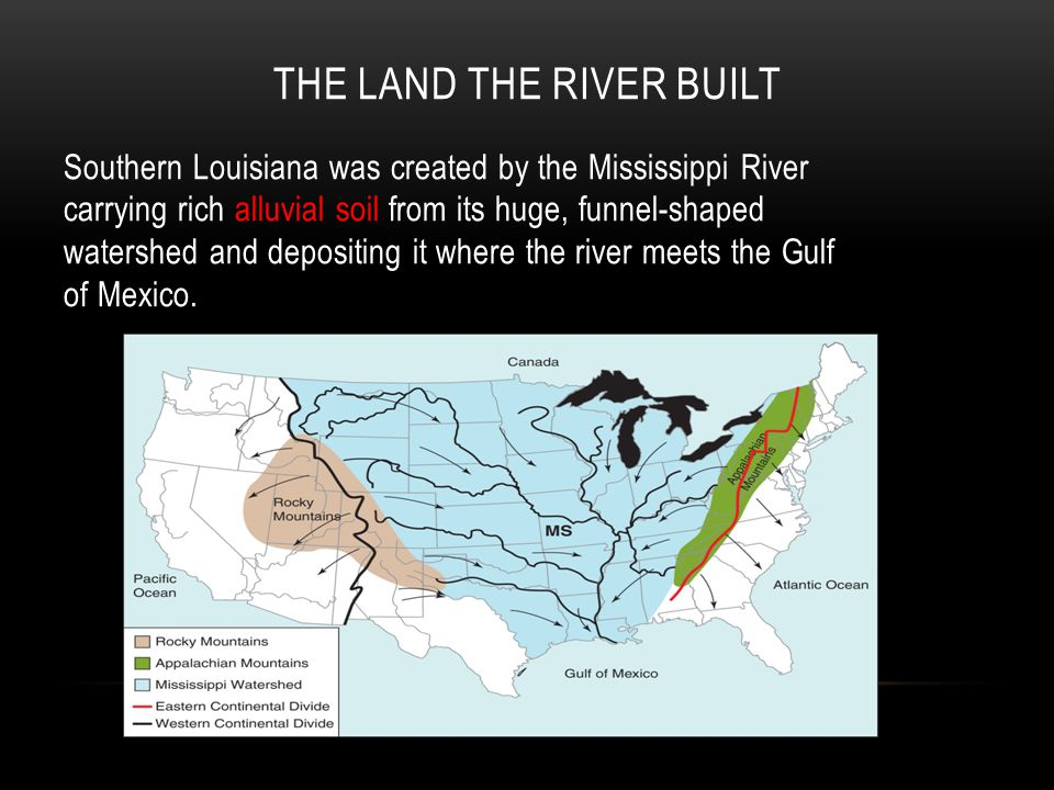 THE LAND THE RIVER BUILT Southern Louisiana was created by the Mississippi River carrying rich alluvial soil from its huge, funnel-shaped watershed and depositing it where the river meets the Gulf of Mexico.