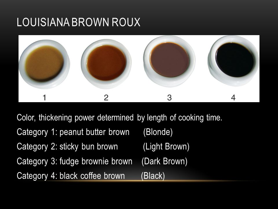 LOUISIANA BROWN ROUX Color, thickening power determined by length of cooking time.