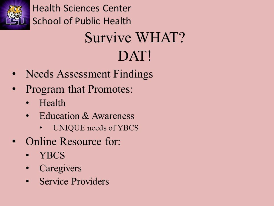 Health Sciences Center School of Public Health Unique Needs of Young Breast Cancer Survivors Psychosocial Fertility Genetics Body Image, dating, sexuality
