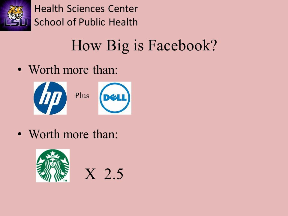 Health Sciences Center School of Public Health How Big is Facebook? Worth more than: