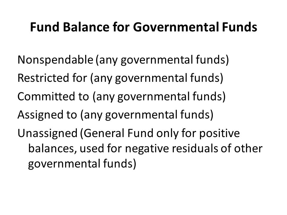 Fund Balance for Governmental Funds Nonspendable (any governmental funds) Restricted for (any governmental funds) Committed to (any governmental funds