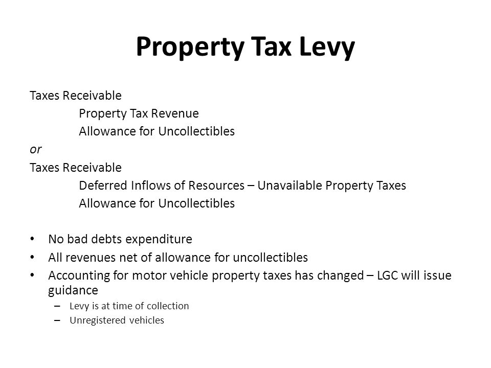 Property Tax Levy Taxes Receivable Property Tax Revenue Allowance for Uncollectibles or Taxes Receivable Deferred Inflows of Resources – Unavailable P