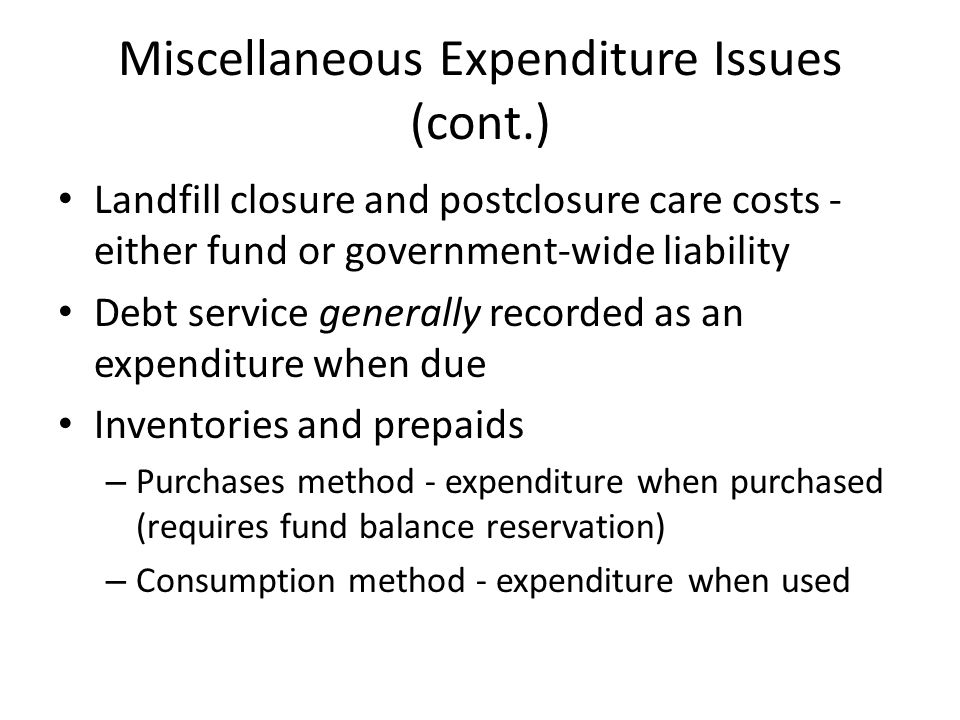 Miscellaneous Expenditure Issues (cont.) Landfill closure and postclosure care costs - either fund or government-wide liability Debt service generally