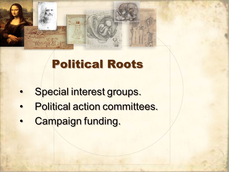 Political Roots Special interest groups. Political action committees. Campaign funding. Special interest groups. Political action committees. Campaign