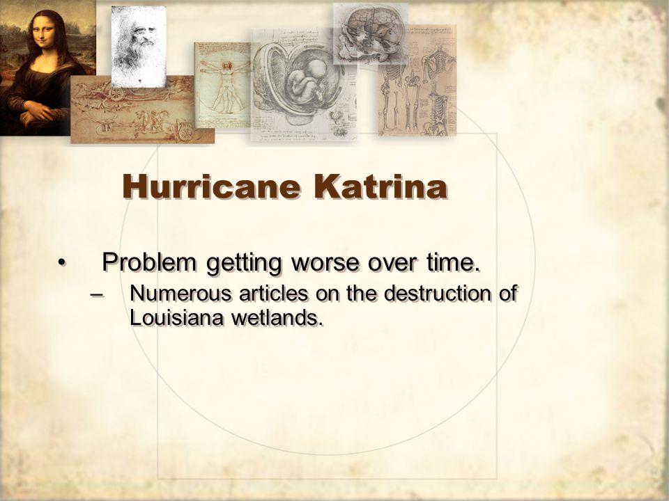 Hurricane Katrina Problem getting worse over time.