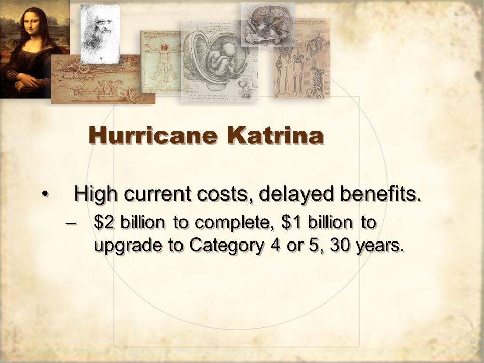 Hurricane Katrina High current costs, delayed benefits.