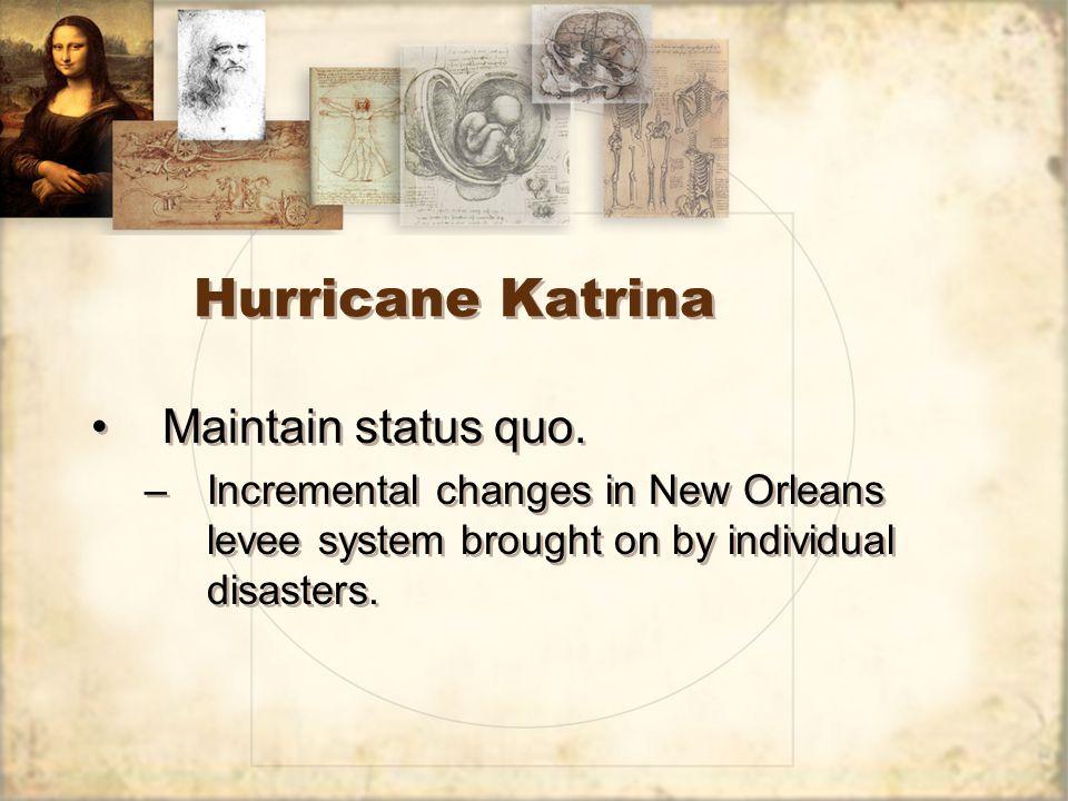 Hurricane Katrina Maintain status quo.