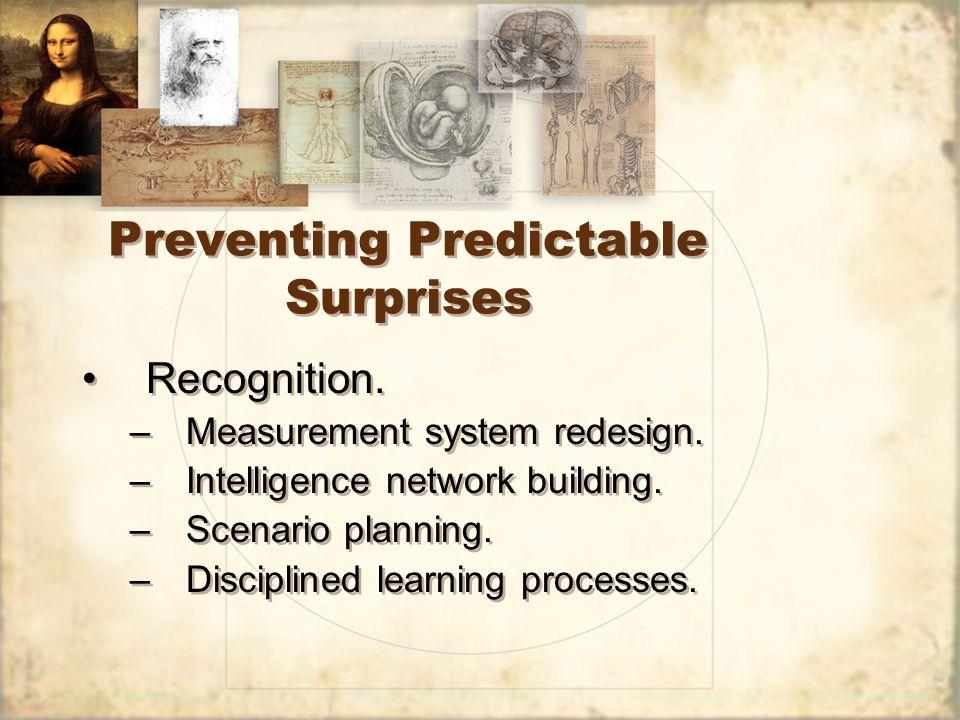 Preventing Predictable Surprises Recognition. –Measurement system redesign.