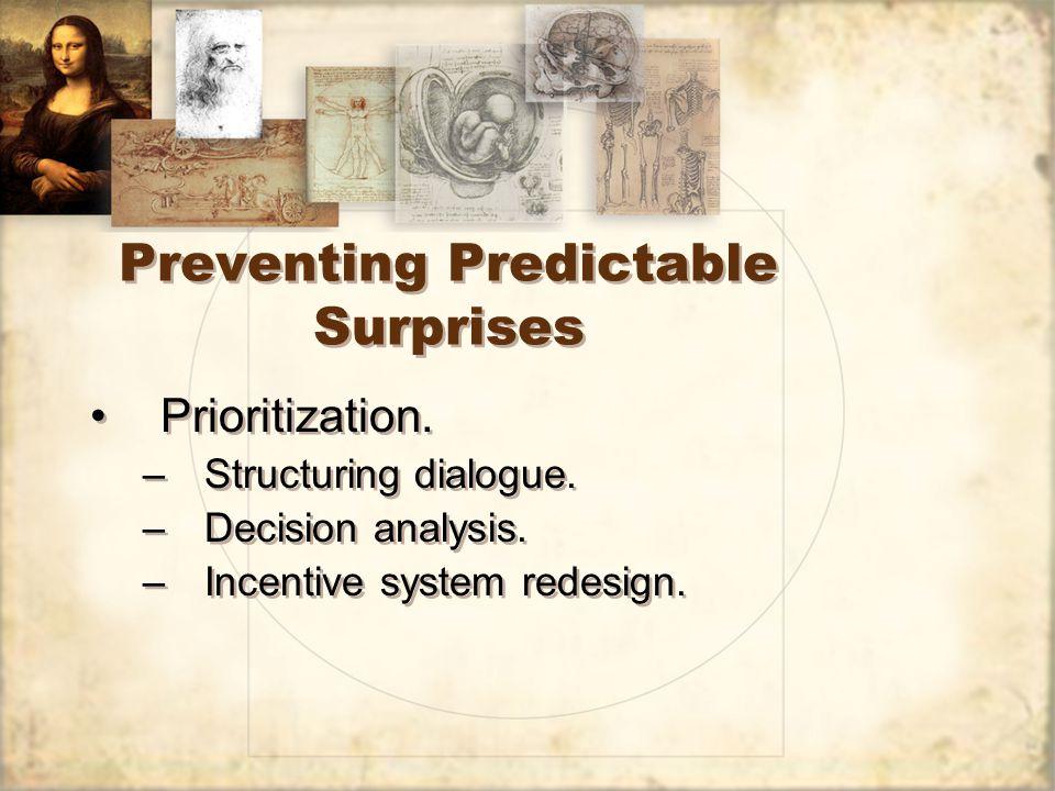 Preventing Predictable Surprises Prioritization. –Structuring dialogue.