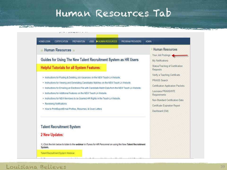 Human Resources Tab 39 Louisiana Believes
