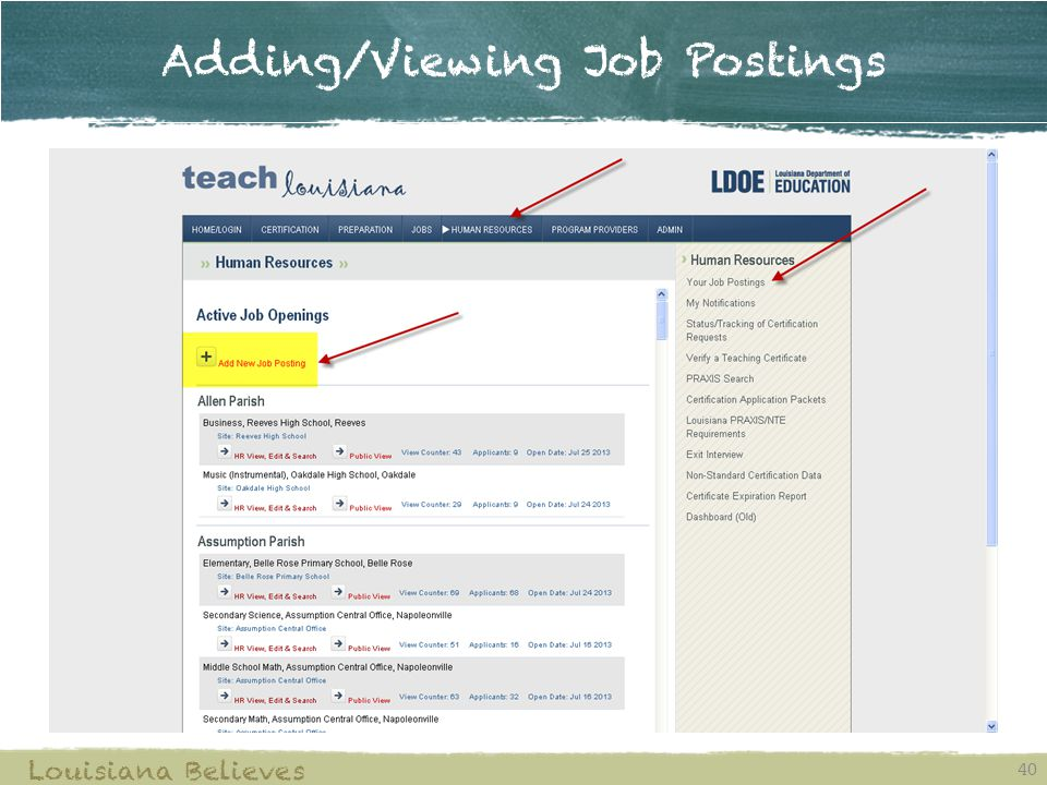 Adding/Viewing Job Postings 40 Louisiana Believes
