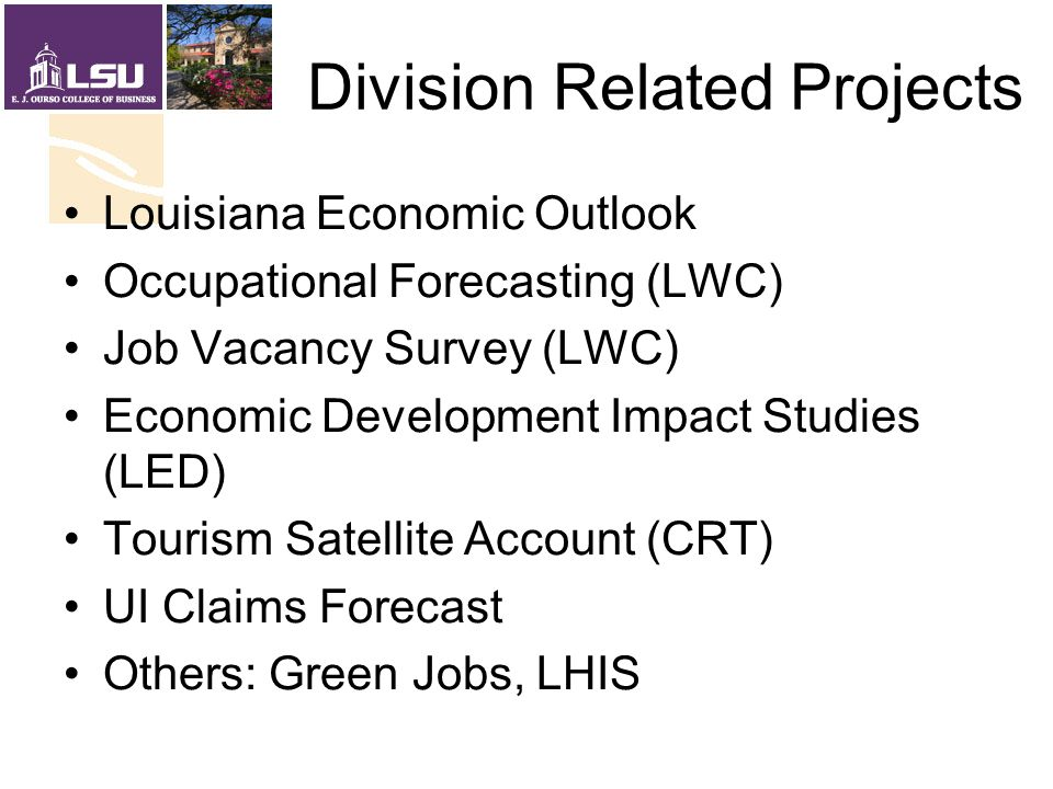Division Related Projects Louisiana Economic Outlook Occupational Forecasting (LWC) Job Vacancy Survey (LWC) Economic Development Impact Studies (LED) Tourism Satellite Account (CRT) UI Claims Forecast Others: Green Jobs, LHIS