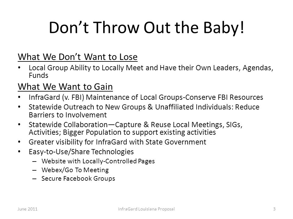 Don't Throw Out the Baby! What We Don't Want to Lose Local Group Ability to Locally Meet and Have their Own Leaders, Agendas, Funds What We Want to Ga