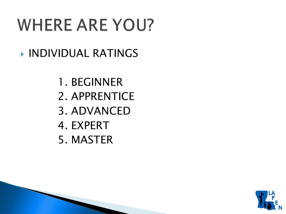  INDIVIDUAL RATINGS 1. BEGINNER 2. APPRENTICE 3. ADVANCED 4. EXPERT 5. MASTER