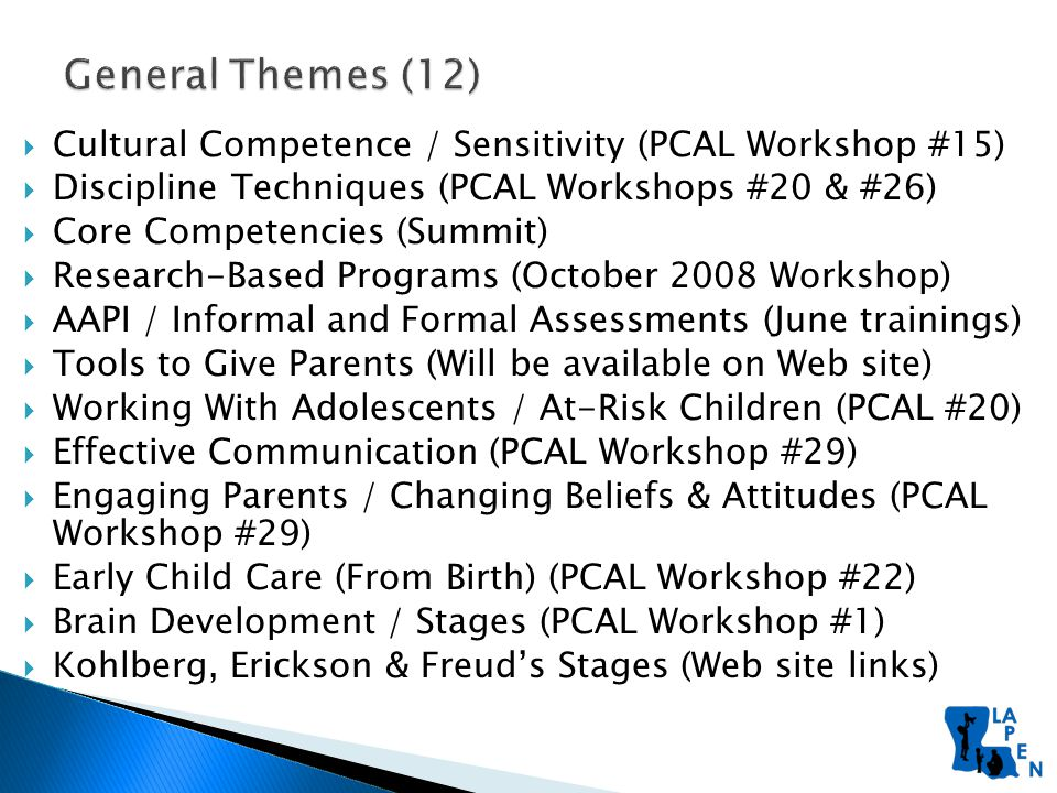 Cultural Competence / Sensitivity (PCAL Workshop #15)  Discipline Techniques (PCAL Workshops #20 & #26)  Core Competencies (Summit)  Research-Based Programs (October 2008 Workshop)  AAPI / Informal and Formal Assessments (June trainings)  Tools to Give Parents (Will be available on Web site)  Working With Adolescents / At-Risk Children (PCAL #20)  Effective Communication (PCAL Workshop #29)  Engaging Parents / Changing Beliefs & Attitudes (PCAL Workshop #29)  Early Child Care (From Birth) (PCAL Workshop #22)  Brain Development / Stages (PCAL Workshop #1)  Kohlberg, Erickson & Freud's Stages (Web site links)
