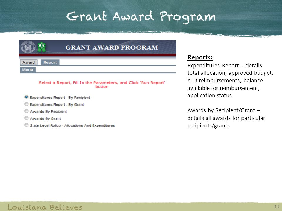 Grant Award Program 13 Louisiana Believes Reports: Expenditures Report – details total allocation, approved budget, YTD reimbursements, balance availa