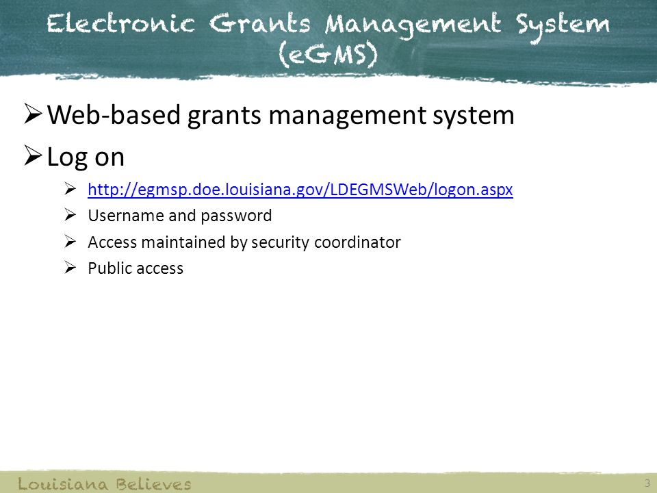 Grant Award Program 14 Louisiana Believes