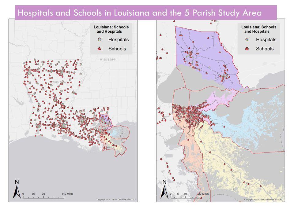 Hospitals and Schools in Louisiana and the 5 Parish Study Area