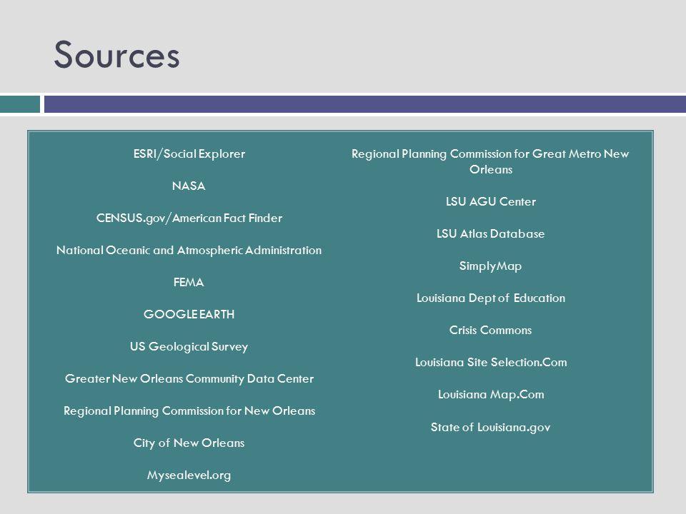 Sources ESRI/Social Explorer NASA CENSUS.gov/American Fact Finder National Oceanic and Atmospheric Administration FEMA GOOGLE EARTH US Geological Surv