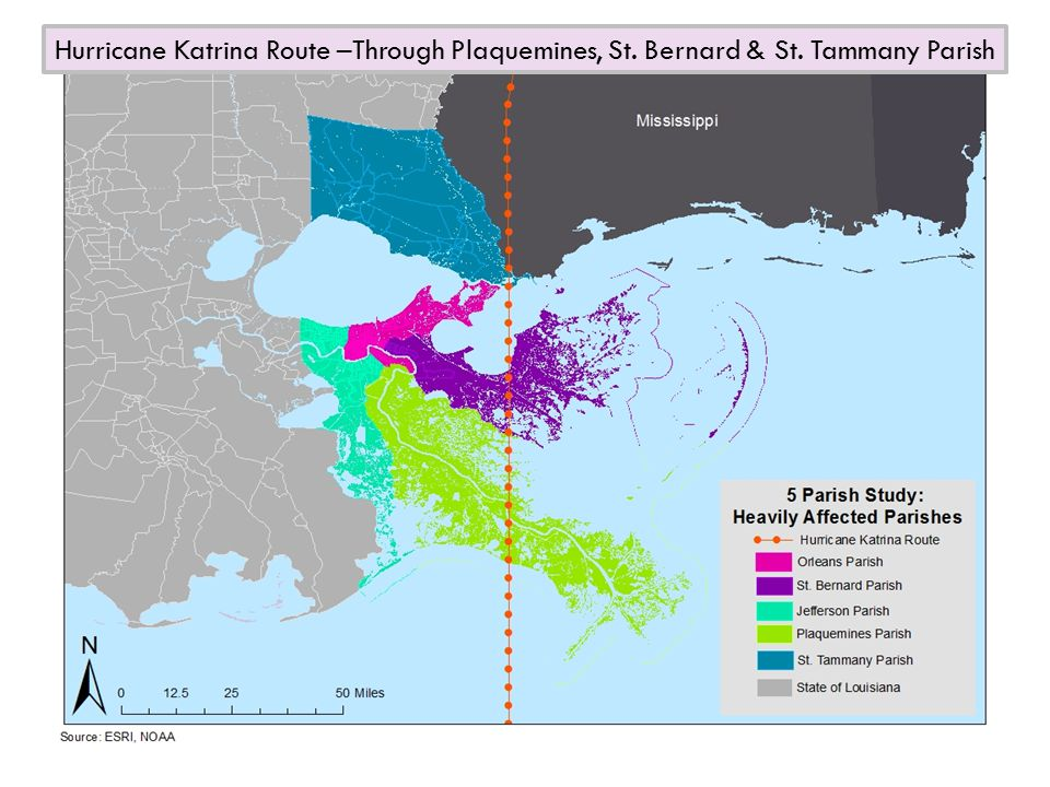Hurricane Katrina Route –Through Plaquemines, St. Bernard & St. Tammany Parish