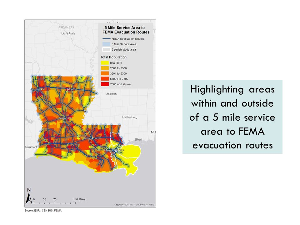 Highlighting areas within and outside of a 5 mile service area to FEMA evacuation routes