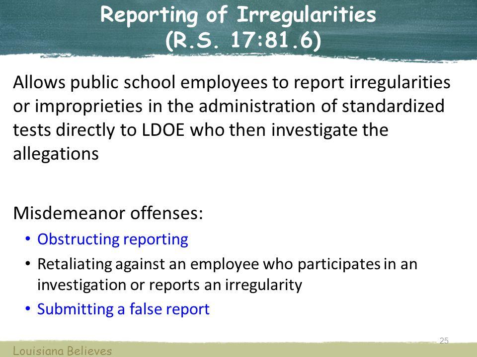 Reporting of Irregularities (R.S.