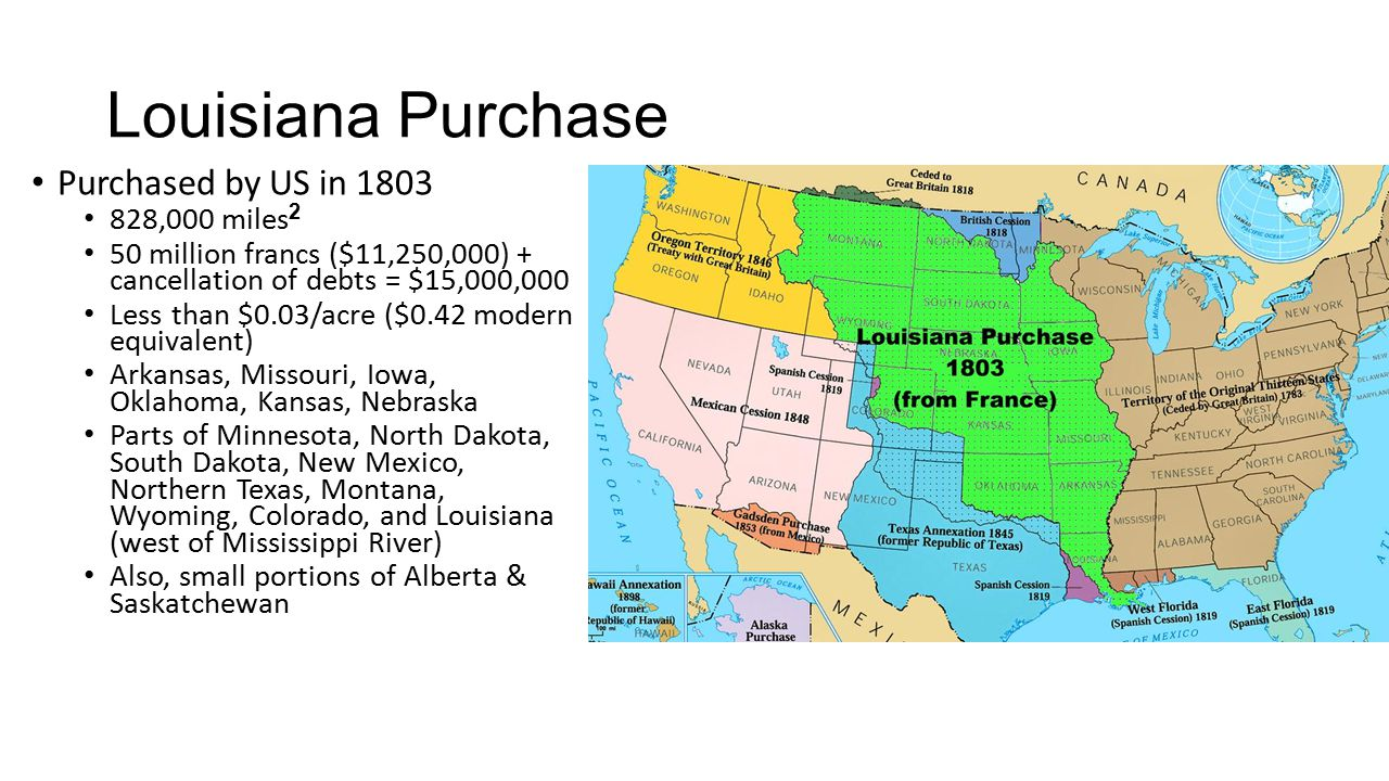 Louisiana Purchase Purchased by US in 1803 828,000 miles 2 50 million francs ($11,250,000) + cancellation of debts = $15,000,000 Less than $0.03/acre ($0.42 modern equivalent) Arkansas, Missouri, Iowa, Oklahoma, Kansas, Nebraska Parts of Minnesota, North Dakota, South Dakota, New Mexico, Northern Texas, Montana, Wyoming, Colorado, and Louisiana (west of Mississippi River) Also, small portions of Alberta & Saskatchewan