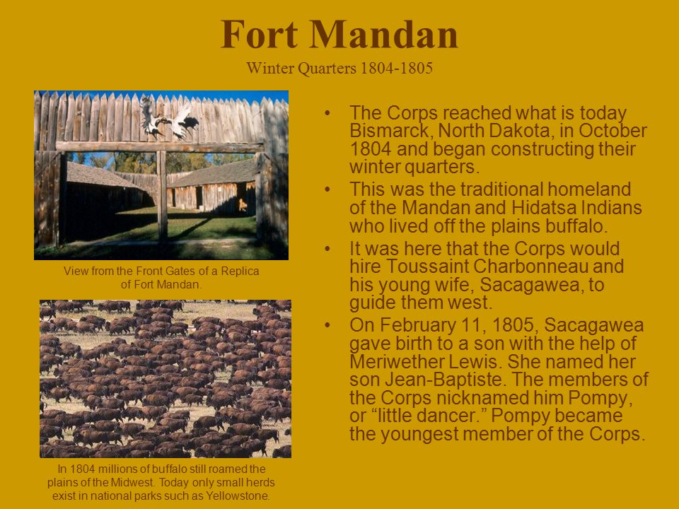 Fort Mandan Winter Quarters 1804-1805 The Corps reached what is today Bismarck, North Dakota, in October 1804 and began constructing their winter quar