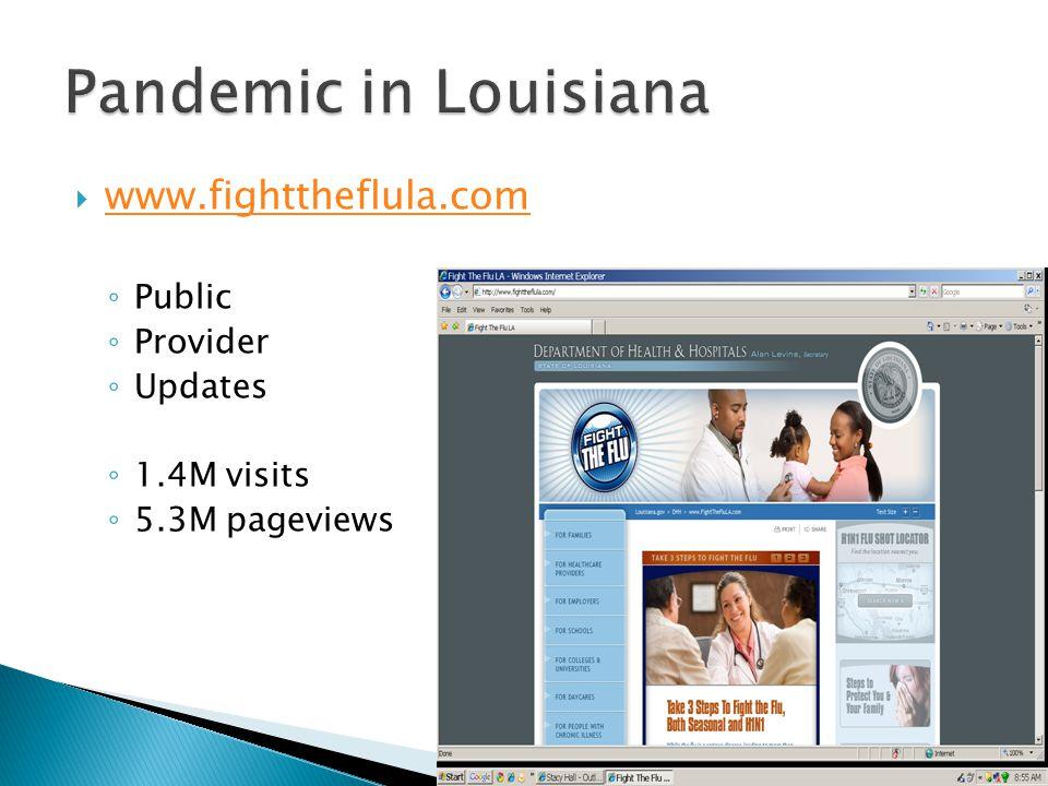  www.fighttheflula.com www.fighttheflula.com ◦ Public ◦ Provider ◦ Updates ◦ 1.4M visits ◦ 5.3M pageviews