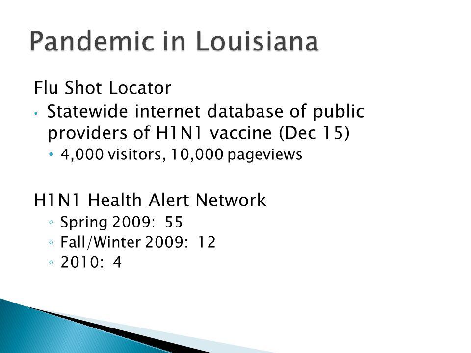 Flu Shot Locator Statewide internet database of public providers of H1N1 vaccine (Dec 15) 4,000 visitors, 10,000 pageviews H1N1 Health Alert Network ◦