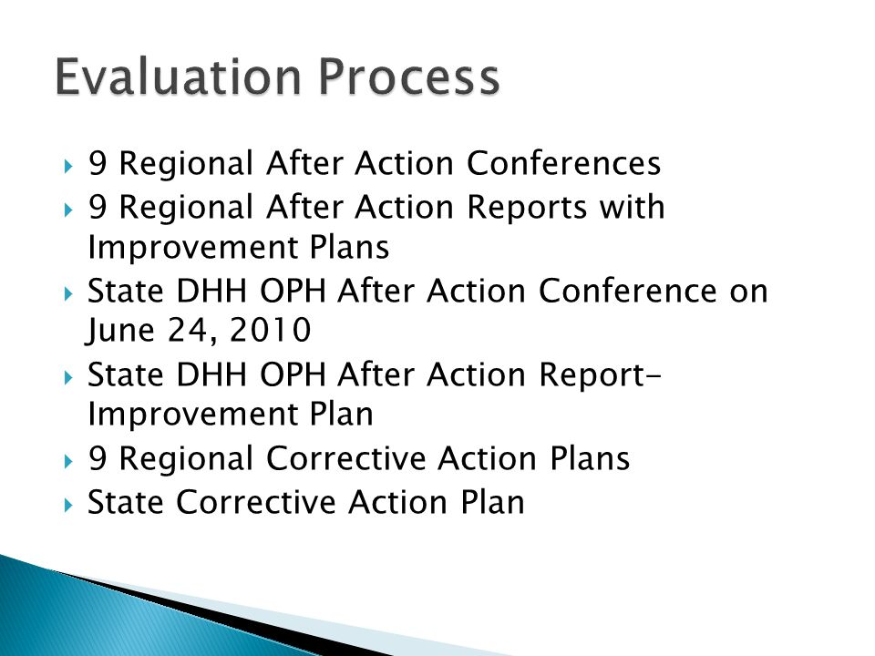  9 Regional After Action Conferences  9 Regional After Action Reports with Improvement Plans  State DHH OPH After Action Conference on June 24, 2010  State DHH OPH After Action Report- Improvement Plan  9 Regional Corrective Action Plans  State Corrective Action Plan