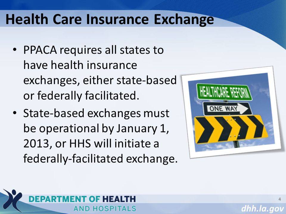 dhh.la.gov PPACA requires all states to have health insurance exchanges, either state-based or federally facilitated.
