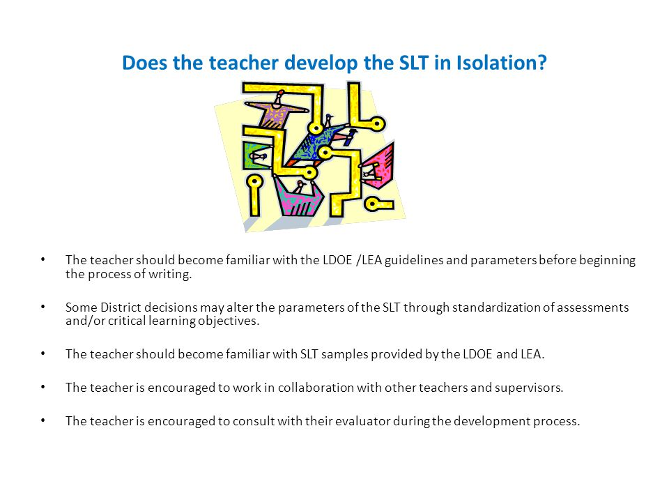 Does the teacher develop the SLT in Isolation.