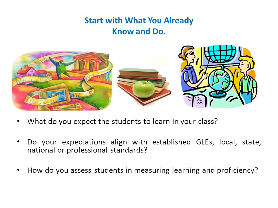 Start with What You Already Know and Do. What do you expect the students to learn in your class? Do your expectations align with established GLEs, loc