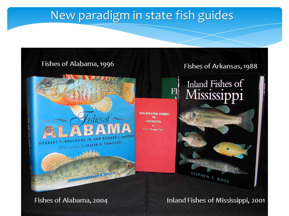 New paradigm in state fish guides Fishes of Arkansas, 1988 Fishes of Alabama, 1996 Inland Fishes of Mississippi, 2001Fishes of Alabama, 2004