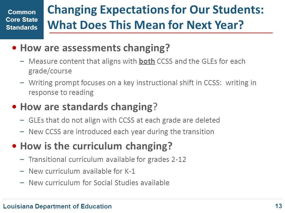 Common Core State Standards Changing Expectations for Our Students: What Does This Mean for Next Year? How are assessments changing? –Measure content