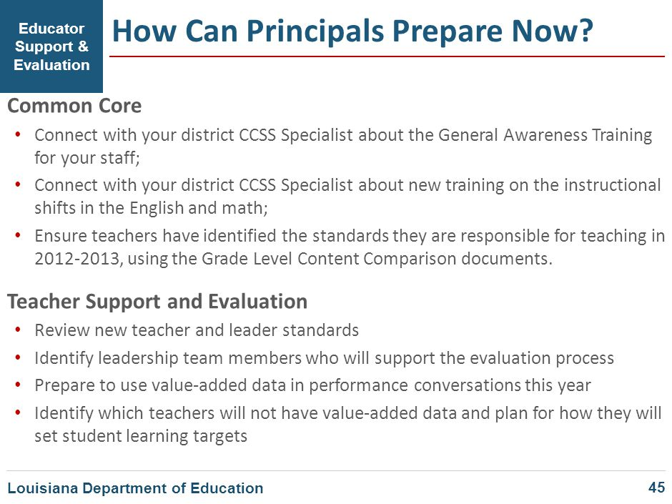 Educator Support & Evaluation How Can Principals Prepare Now? Common Core Connect with your district CCSS Specialist about the General Awareness Train