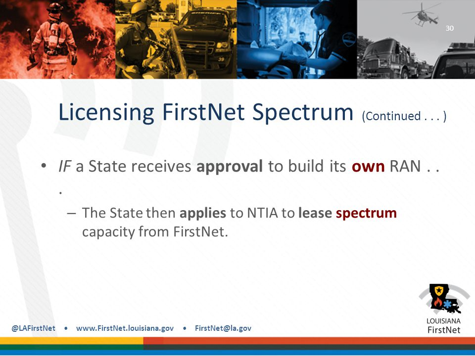 @LAFirstNet www.FirstNet.louisiana.gov FirstNet@la.gov Licensing FirstNet Spectrum (Continued...