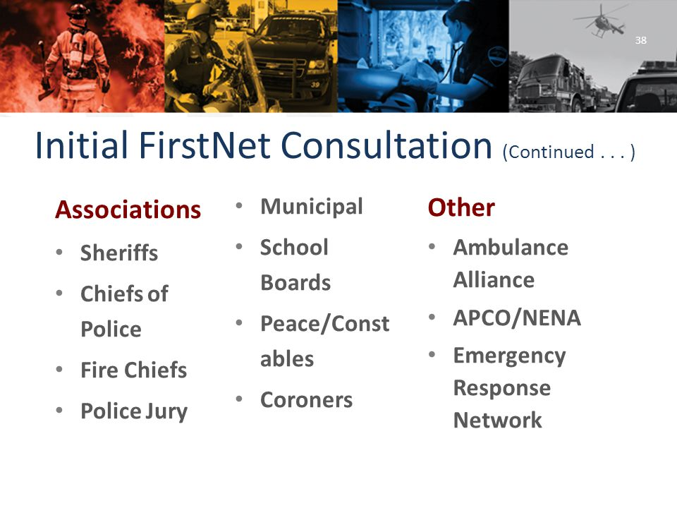 @LAFirstNet www.FirstNet.louisiana.gov FirstNet@la.gov Initial FirstNet Consultation (Continued...